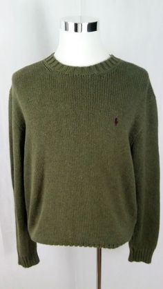 POLO RALPH LAUREN MEN'S, CABLE KNIT SWEATER, CREW NECK, COTTON, Olive XL #PoloRalphLauren #Crewneck