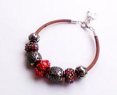 Red Bracelet Brown Leather Bracelet Beaded by DeerestJewelry