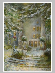 Christmas snow scenes images | Victorian christmas snow scene Original Oil ... | Lights Posts/ St ...