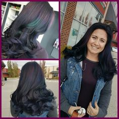 Oilslick Balayage. Peacock Hair.  Blue, green, purple, and magenta. #oilslickhair #peacock #baylage #lunahairsalonchestermere