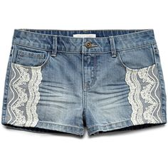 FOREVER 21 GIRLS Lace Trim Denim Shorts (Kids) ($16) ❤ liked on Polyvore featuring shorts