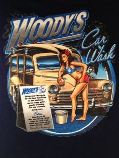 Woodys Car Wash Hawaii T shirt Woody Pin-Up Babe Bikini hose surfboard palm tree