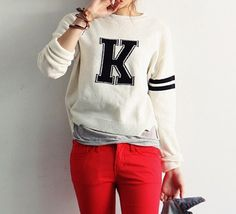 $9.08 Casual Style Round Neck Stripe Letter Print Long Sleeve Sweater For Women (WHITE,ONE SIZE) | Sammydress.com
