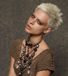 This cut demonstrates this spring's return to natural colors and textures combined with edgy cuts.