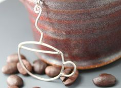 Sterling Coffee Cup Necklace  'Coffee Anyone' by tladesigns, $38.00