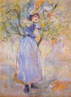 The Orange Picker, 1889 by Berthe Morisot. Impressionism. genre painting