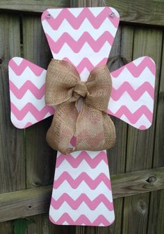 Breast+Cancer+Awareness+Chevron+Wooden+Cross+by+SweetSophieJacks,+$35.00