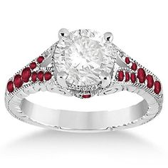 Antique Vintage Style Art Deco Filigree Ruby Engagement Ring Palladium Setting (0.33ct)