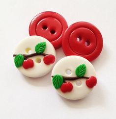 Red Apple - polymer clay buttons ( set of 4)