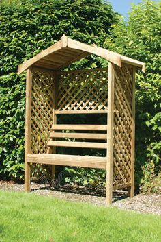 Garden Arbour Seat Pergola Trellis Wood Arch Bench Corner Storage Patio Furniture (ref. R)