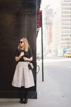 Jacey in @Tibi New York New York New York's raffia full skirt