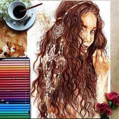 """WANT A FREE FEATURE ?   CLICK LINK IN MY PROFILE !!!    Tag  #LADYTEREZIE   Repost from @nuriamarq   """"Freedom.2"""" Illustration of @vanessahudgens drawn with a brown pencil and coloured with coffee on Canson paper. Reference pic by @riawnacapri @ninezeroone // """"Freedom.2"""" Ilustración de @vanessahudgens hecha con café y lápiz marrón en papel Canson. Imagen de referencia @riawnacapri @ninezeroone. . . #vanessahudgens #highschoolmusical #grease #feathers #crown #hair #beautiful #beauty #coachella…"""