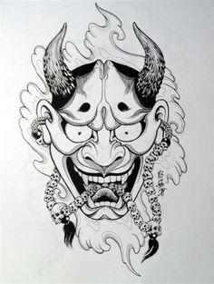 tattoos in japanese prints Hanya Mask Tattoo, Oni Tattoo, Dark Tattoo, Japanese Mask Tattoo, Japanese Tattoo Designs, Japanese Sleeve Tattoos, Japan Design, Mascara Hannya, Raijin Tattoo