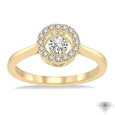 Yellow Gold Motion Diamond Ring in Round Setting
