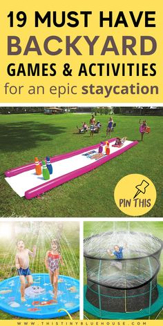 Make your family staycation a blast this year by tricking out your backyard with these epic Summer Backyard Must Haves. From cool pools to oversized lawn games and DIY activities for the kids these awesome backyard games are the perfect way to enjoy your Summer at home. #backyardfun #backyardfunforkids #backyardfunforadults #backyardfunfortoddlers #backyardfundiy #backyardfunideas #backyardfunideasforkids