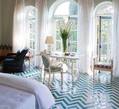 chevron tiled floor in turquoise & white