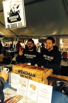 Wingman Brewers at Washington Brewers Festival - beer rep Colin Harvin, left, and head brewer Ken Thoburn