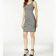 "Michael Kors Asymmetrical-Striped Dress A bold, assymetrical striped print enlivens this scoop neckline dress with side zipper closure. Dress has stretch.  Material: polyester/elastane. Approximate dimensions: 35"" length, 29"" waist, 32""bust. Was $84. MICHAEL Michael Kors Dresses"