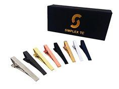 Simplex Tie Clips - Set of 8 - Solid Designs 2.15-Inch for Standard Neckties Simplex TC