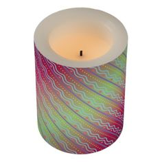 Gradient Stripes and Dots Flameless Candle