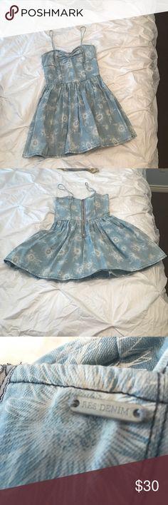denim dress denim sundress with flower print worn once looks brand new the brand is res denim Urban Outfitters Dresses Mini