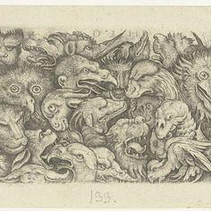 Groteske vlakdecoratie met koppen van dieren, Daniel Hopfer (I), David Funck, 1480 - 1536 - Rijksmuseum