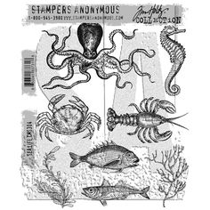 RESERVE Tim Holtz Cling Rubber Stamps 2017 SEA LIFE CMS304