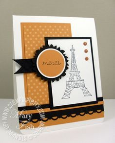 "So very French! Colors are More Mustard, black & white. note stamp is Chic Boutique (retired), polka dot DSP, 1 3/4"" scallop circle and ribbon to make medallion"