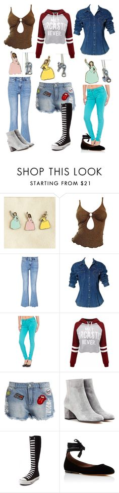 """""""#sisters"""" by thebrokendolly ❤ liked on Polyvore featuring Moschino, M.i.h Jeans, Buffalo David Bitton, Sans Souci, Gianvito Rossi, Converse and Tabitha Simmons"""