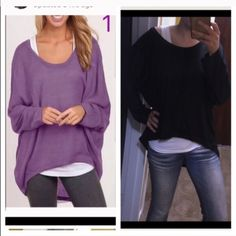 Fashion casual top Women loose long sleeve pullover size lightweight so cool for the summer Cotten blend .75cm length Aram to arm 144cm. Tops Tees - Long Sleeve