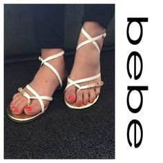 Bebe Strappy Sandals Preowned. Worn a few times. Super clean. Has Bebe in crystals on the front. bebe Shoes Sandals