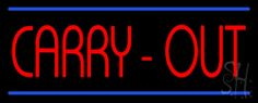 Carry-Out Neon Sign 13 Tall x 32 Wide x 3 Deep, is 100% Handcrafted with Real Glass Tube Neon Sign. !!! Made in USA !!!  Colors on the sign are Blue and Red. Carry-Out Neon Sign is high impact, eye catching, real glass tube neon sign. This characteristic glow can attract customers like nothing else, virtually burning your identity into the minds of potential and future customers. Carry-Out Neon Sign can be left on 24 hours a day, seven days a week, 365 days a year...for decades.
