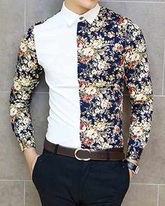 Slimming Trendy Shirt Collar Flower Print Color Splicing Long Sleeve Cotton Blend Shirt For Men African Shirts For Men, African Dresses Men, African Clothing For Men, African Wear, Nigerian Men Fashion, African Men Fashion, Mens Designer Shirts, Mens Fashion Suits, Casual Shirts