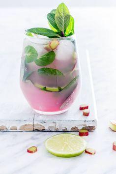 A glass of Rhubarb Mojito