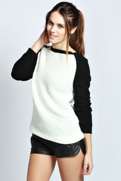 Catrin Contrast Sleeve Jumper at boohoo.com