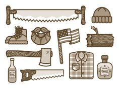 Lumberjack Icons by Nick Slater | Such fun... and plaid! :)