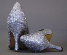 Wedding Shoes -- Silver Rhinestone Covered Peep Toe Wedding Shoes