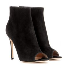 Gianvito Rossi - Suede peep-toe ankle boots