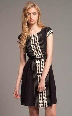 plenty Black and Ecru Tucked Waist Dress