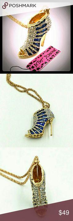 "SALEBetsey J Swarovski Crystal Heel Necklace Betsey Johnson Swarovski Crystal blue Enamel high heel pendant 2.36"" x1.57"" x 0.59"" Necklace 28.34"" Betsey Johnson Jewelry Necklaces"