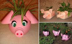 How to make Plastic Bottle Piggy Plant Vase step by step DIY tutorial instructions Plastic Bottle Planter, Reuse Plastic Bottles, Plastic Bottle Crafts, Recycled Bottles, Plastic Jugs, Bleach Bottle, Little Presents, Diy Funny, Garden Crafts