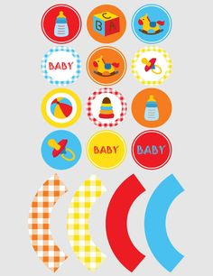 Printable cupcake toppers | Printable cupcake wrappers | Printable Party Circles | Baby Toy Party | Instant Download PDF by JJPrintables on Etsy
