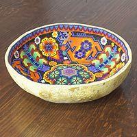 Huichol beadwork offering bowl, 'Dance of the Deer'