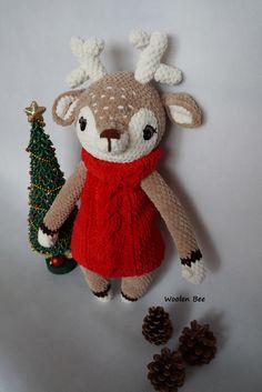 Crochet reindeer. Pattern y Wooltastish. Made by Woolen Bee