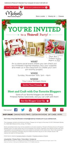 Michaels pinterest party holiday emails 2013