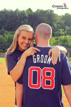 Would love to customize these online and surprise Mike! How cute! Bride and groom baseball t's!!!!