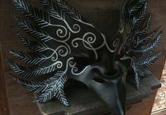 RAVEN Mask  Black tribal Crow leather mask by by faerywhere, $90.00