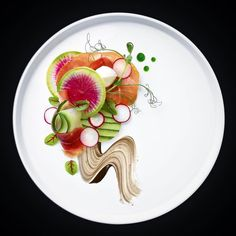 Mozzarella di bufala with Italian prosciutto, balsamic reduction and basil oil and beautiful greens - by @Housewhyfe  #foodart #foodplating #foodpresentation #fooddesign
