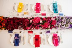 Colorful wedding inspired table decorations #rainbow #wedding