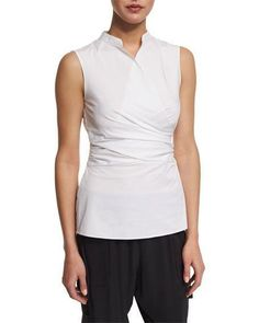 e998b39d1c8 NWT Elie Tahari Maisa Sleeveless Wrap Shirred Stretch Poplin White Blouse  –Large · Luxe Fashion Finds